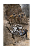 Buffalo Soldier and His Horse Taking a Tumble from the Trail  1880s