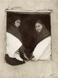 Hopi Girls in an Adobe Window  1900