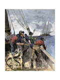 Cod Fishermen Hauling in Hand-Lines from the Deck of a Boat on the North Atlantic  1800s