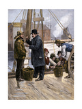 Oyster Buyer Tasting a Sample on the Dock in Baltimore  Maryland  1880s