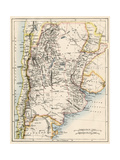 Map of Agentina  Uruguay  and Paraguay in the 1870s