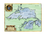 French Jesuit Map of Lake Superior  Upper Michigan  and Wisconsin  1600s