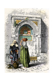 Arab Women Getting Water from a Fountain in Jerusalem  1800s