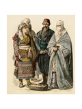 Couple from the Ottoman Empire  Man from Adrianople  and a Veiled Woman of Salonika