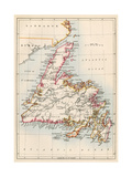 Map of Newfoundland  Canada  1870s