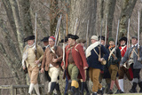 Minutemen Reenactors Marching to Battle the British at the Battle of Concord  Concord  MA