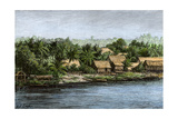 Native Village in Borneo Near Sarawak  1800s