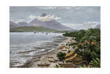 Volcano on Tidore in the Moluccas  Seen from the Neighboring Island of Ternate  1800s