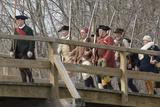 Minutemen Reenactors Crossing Concord Bridge to Harrass the Retreating British  Concord  MA