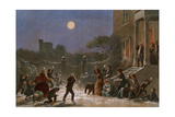 Christmas-Eve Snowball Fight in an English Town  1860
