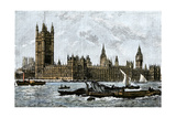 Westminster and the Houses of Parliament from the Thames  1800s