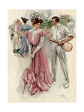 Tennis Player Distracted by a Flirtatious  Fashionable Woman  circa 1900