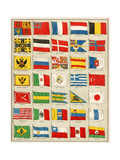 Flags of 1880  Including Asian  European  North African  and South American Countries  Usa
