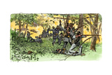 Bragg's Confederates Firing from the Woods at Chickamauga  Georgia  1863