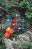 Fruit and Berries with Old-Fashioned Home Preserving Jars