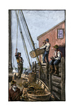 Lobster-Boat Unloaded Along a Maine Pier  circa 1880