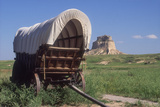 Covered Wagon on the Prairie Crossing of Oregon Trail and Mormon Trail Near Scotts Bluff  Nebraska