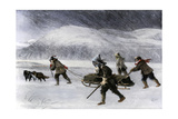 Prospectors' Dogsled in a Snowstorm to Get to the Klondike Goldfields  1898