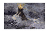 Native American Tepee in a Snowstorm  Emitting Embers from Center Smoke-Hole