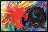 Lutte abstraite Tableau sur toile encadré par Franz Marc