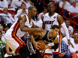Miami  FL - June 20: Danny Green  Chris Bosh and Dwyane Wade