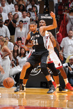 Miami  FL - June 20: Tim Duncan and Chris Bosh