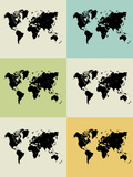 World Map Grid Poster