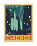 Chicago: The Magnificent Mile (Night Lights) Reproduction d'art par Anderson Design Group