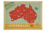 Explore Australia, The Land Down Under Reproduction d'art par Anderson Design Group