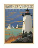 Martha's Vineyard, Massachusetts (Lighthouse) Reproduction d'art par Anderson Design Group