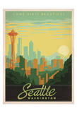 Come Visit Beautiful Seattle, Washington Reproduction d'art par Anderson Design Group