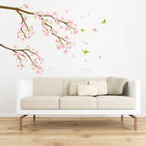 Hummingbirds in Pink Flower Tree Wall Sticker Decal