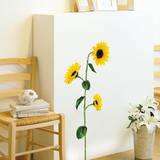 Single Stem Sunflower Wall Sticker Decal