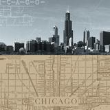 Chicago Map I Giclée par The Vintage Collection