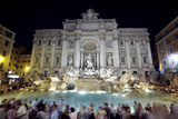 Travelers Converge On the Trevi Fountain in Rome in the Evening