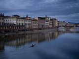 A Man Rowing Up the Arno River Toward the Ponte Vecchio