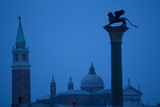 Venice Architecture; Dome  Tower and Column with Statue At Night