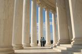 A Young Couple Walks Through the Jefferson Memorial in Washington DC