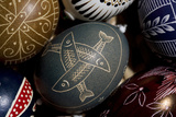 Close Up of Ornately Decorated Easter Eggs