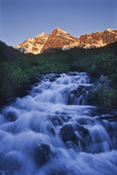 The Maroon Peaks From Maroon Creek Above the Lake in Early Morning