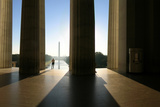 A Man Looking From the Lincoln Memorial to the Washington Monument