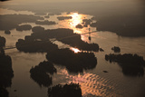 Aerial View of the Thousand Islands International Bridge At Sunset