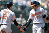 Oakland  CA - April 28: Manny Machado and Chris Davis