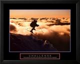 Challenge - Skieur dans les nuages Reproduction laminée et encadrée