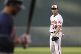 Baltimore  MD - June 27: Starting pitcher Miguel Gonzalez and Mike Aviles