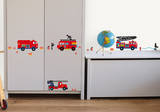 Fire Trucks Decorative Water Resistant Wall Sticker Decal