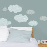 Gray & Blue Clouds Wall Decals