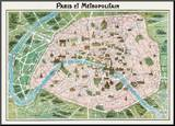 Parigi (Paris Map) - Vintage Style Italian Map Poster