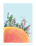 James et la pêche géante|James and the Giant Peach Reproduction d'art par Quentin Blake