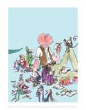 Roald Dahl Characters Reading Reproduction d'art par Quentin Blake